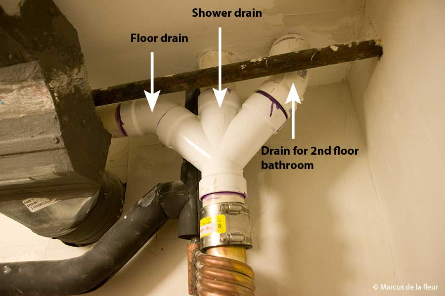 January Reshaping Our Footprint - Bathroom floor drain installation